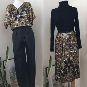 Vintage Silk Gold Sequin Two Piece Top and Skirt